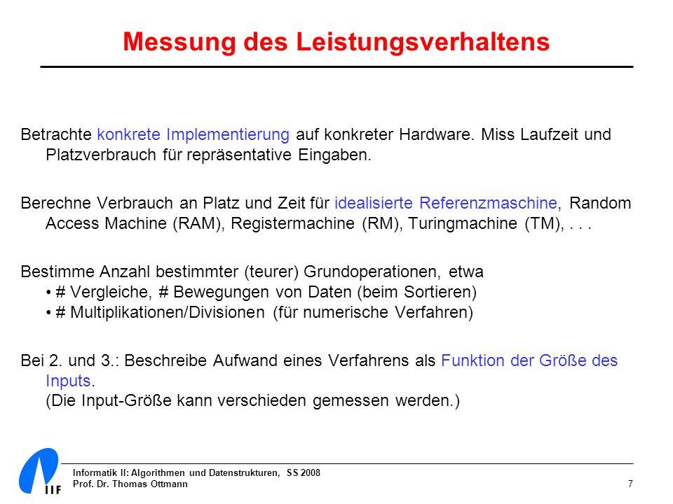 Informatik II: Algorithmen und Datenstrukturen, SS 2008 Prof. Dr. Thomas Ottmann7 Messung des Leistungsverhaltens Betrachte konkrete Implementierung a