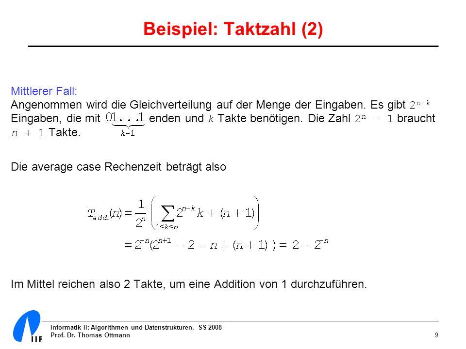 Informatik II: Algorithmen und Datenstrukturen, SS 2008 Prof. Dr. Thomas Ottmann9 Beispiel: Taktzahl (2) Mittlerer Fall: Angenommen wird die Gleichver
