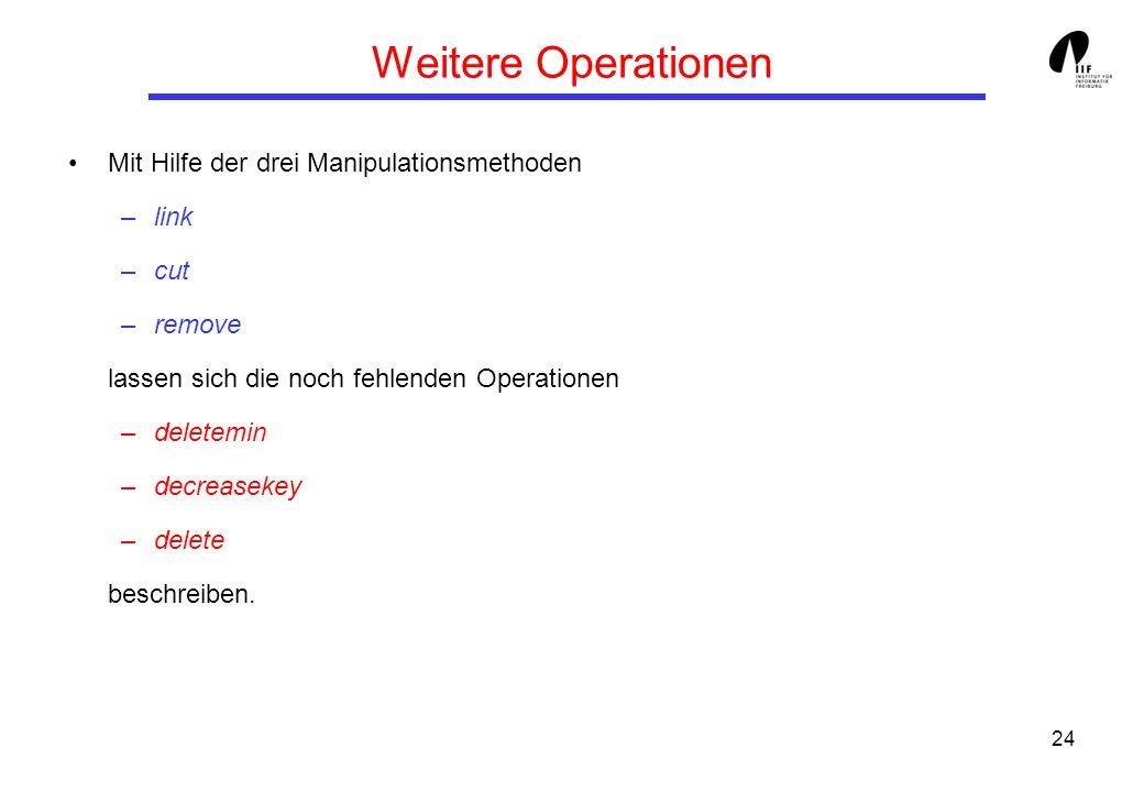 24 Weitere Operationen Mit Hilfe der drei Manipulationsmethoden –link –cut –remove lassen sich die noch fehlenden Operationen –deletemin –decreasekey –delete beschreiben.