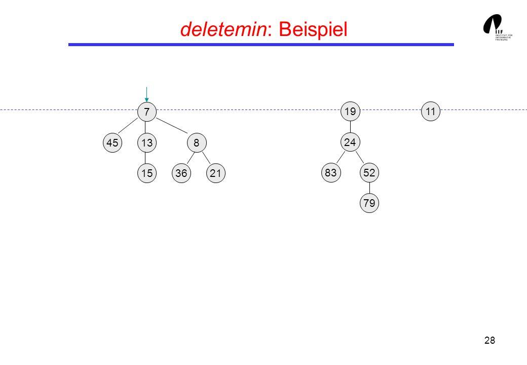 28 deletemin: Beispiel 19 24 8352 79 11 7 13458 362115
