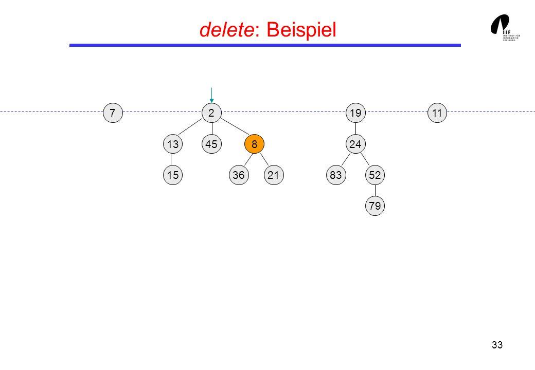 33 delete: Beispiel 219 13458 3621 24 158352 79 117