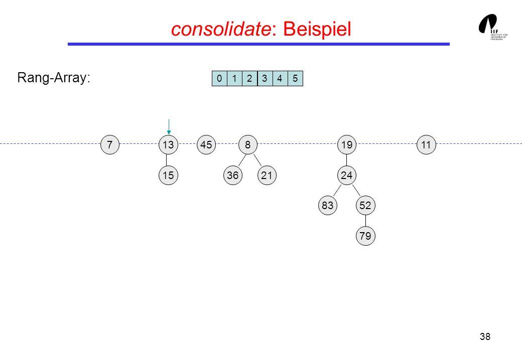 38 consolidate: Beispiel 1913458 3621 24 15 8352 79 117 012345 Rang-Array: