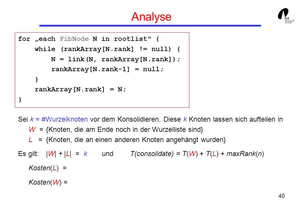 40 Analyse for each FibNode N in rootlist { while (rankArray[N.rank] != null) { N = link(N, rankArray[N.rank]); rankArray[N.rank-1] = null; } rankArray[N.rank] = N; } Sei k = #Wurzelknoten vor dem Konsolidieren.