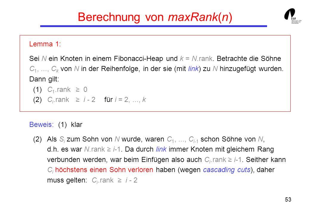53 Berechnung von maxRank(n) Lemma 1: Sei N ein Knoten in einem Fibonacci-Heap und k = N.rank.