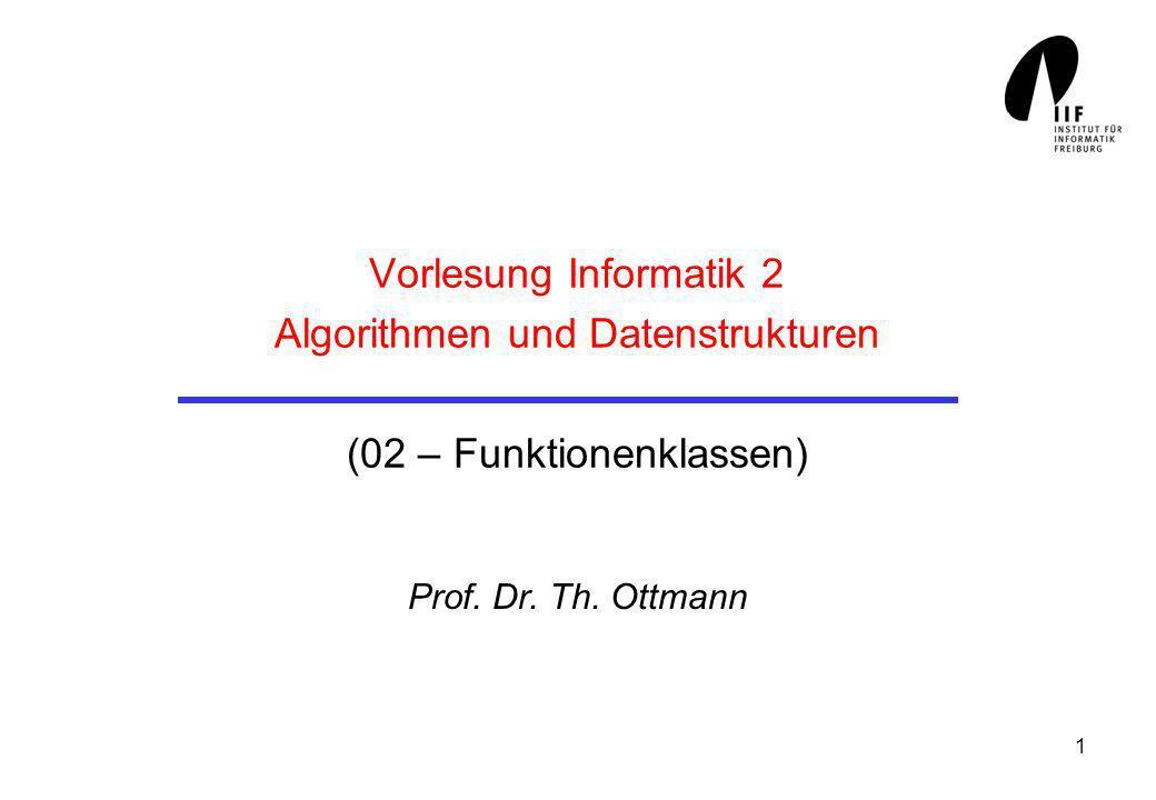 2 Beschreibung und Analyse von Algorithmen Mathematisches Instrumentarium zur Messung der Komplexität (des Zeit- und Platzbedarfs von Algorithmen): Groß-O-Kalkül (Landausche Symbole)