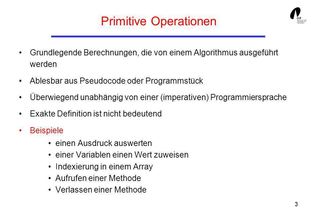 14 Der O-Kalkül Einfache Regeln: Additionsregel: Multiplikationsregel: Additionsregel findet Anwendung bei der Berechnung der Komplexität, wenn Programmteile hintereinander ausgeführt werden.