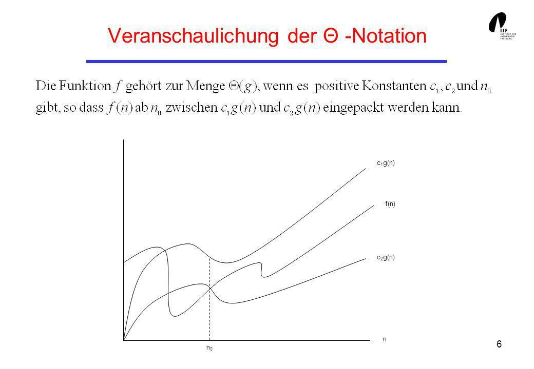 7 Die O-Notation Sei eine Funktion gegeben, dann ist folgende Menge von Funktionen: Die -Notation gibt also eine asymptotisch obere Grenze für eine Funktion.