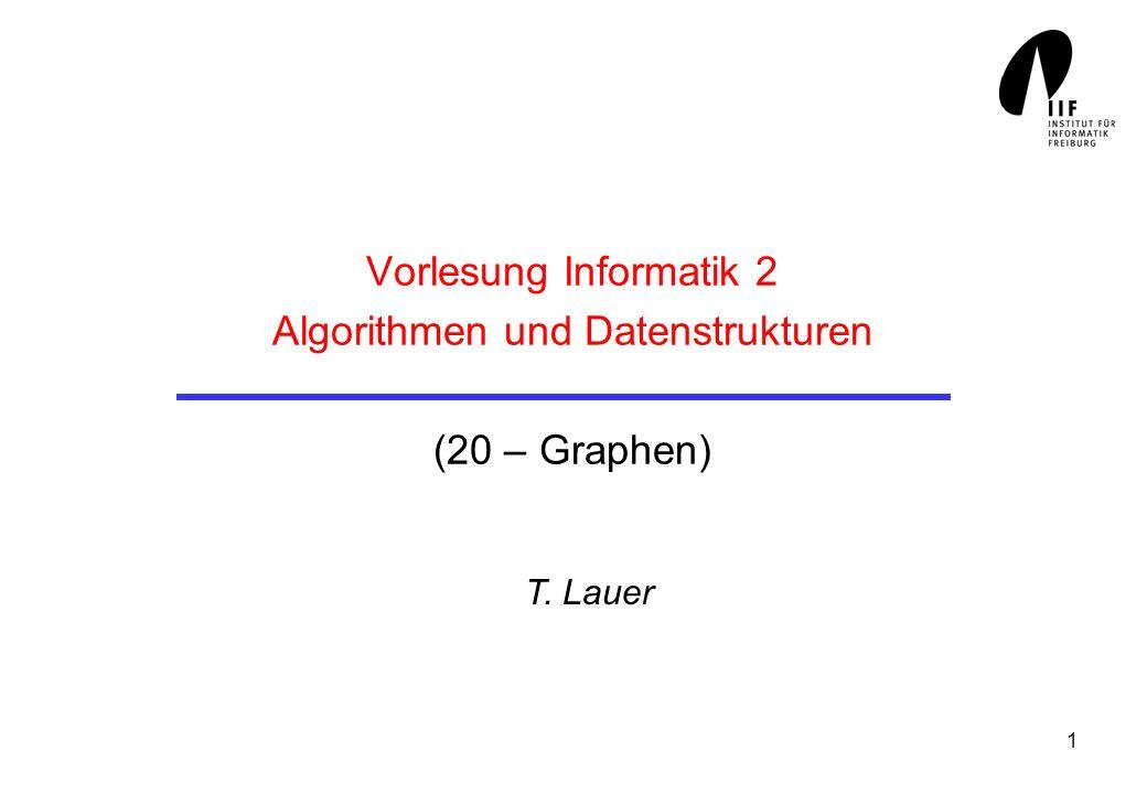 1 Vorlesung Informatik 2 Algorithmen und Datenstrukturen (20 – Graphen) T. Lauer