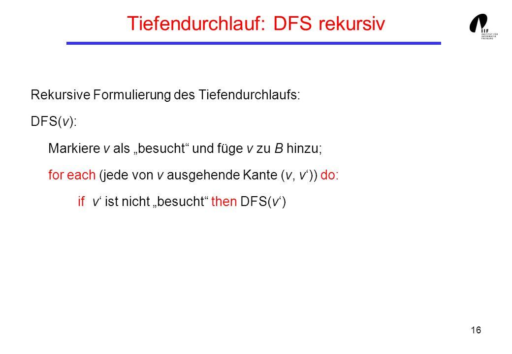 16 Tiefendurchlauf: DFS rekursiv Rekursive Formulierung des Tiefendurchlaufs: DFS(v): Markiere v als besucht und füge v zu B hinzu; for each (jede von