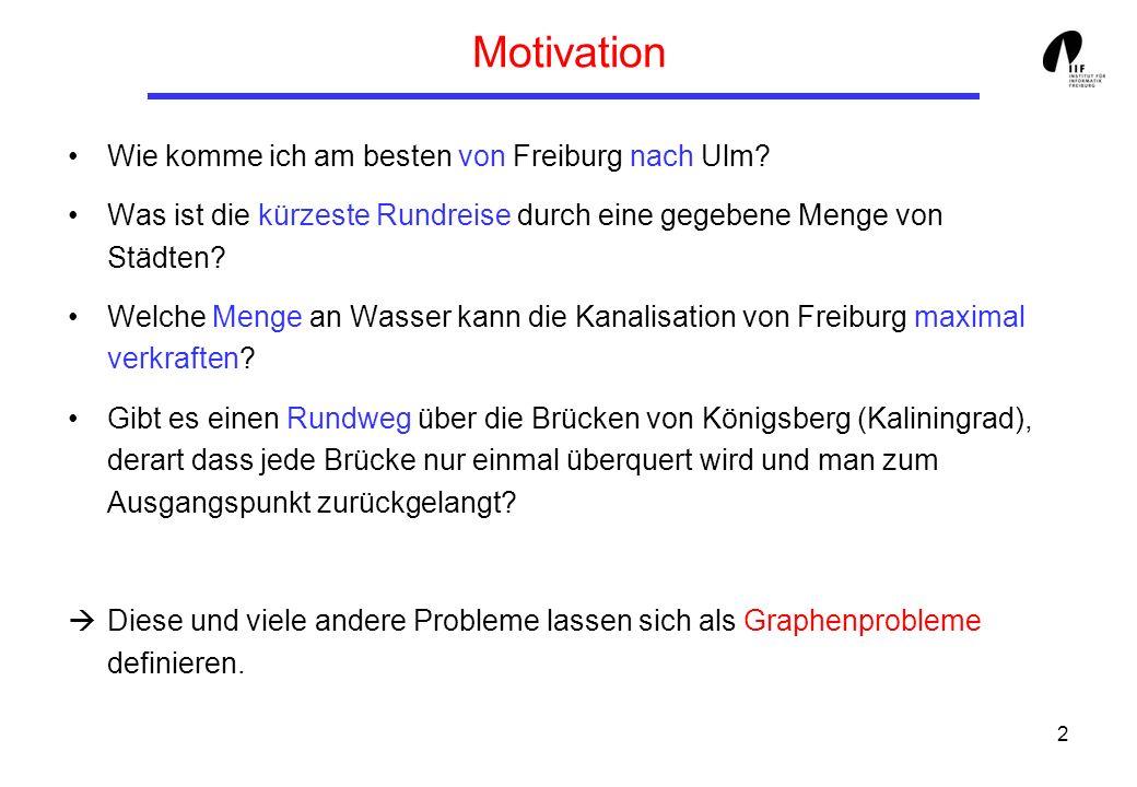 2 Motivation Wie komme ich am besten von Freiburg nach Ulm? Was ist die kürzeste Rundreise durch eine gegebene Menge von Städten? Welche Menge an Wass
