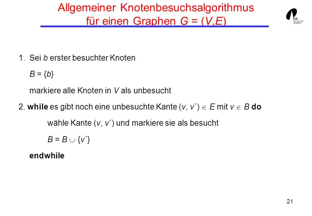 21 Allgemeiner Knotenbesuchsalgorithmus für einen Graphen G = (V,E) 1.Sei b erster besuchter Knoten B = {b} markiere alle Knoten in V als unbesucht 2.