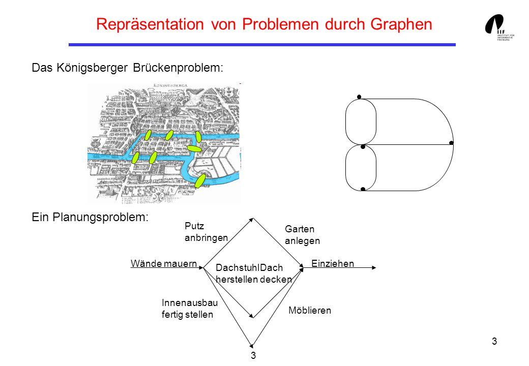3 Repräsentation von Problemen durch Graphen Das Königsberger Brückenproblem: Ein Planungsproblem: 3 EinziehenWände mauern Garten anlegen Putz anbring