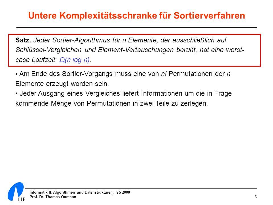 Informatik II: Algorithmen und Datenstrukturen, SS 2008 Prof. Dr. Thomas Ottmann17 Heap-Bedingung