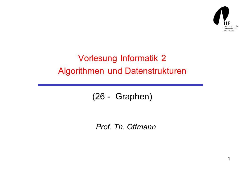 1 Vorlesung Informatik 2 Algorithmen und Datenstrukturen (26 - Graphen) Prof. Th. Ottmann