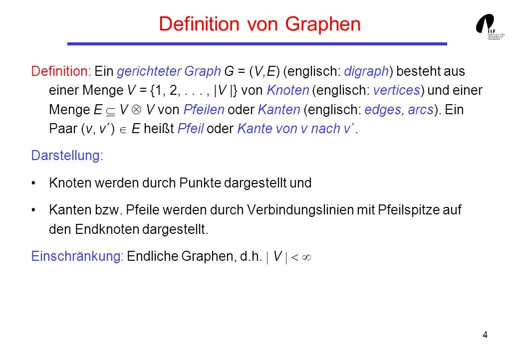 4 Definition von Graphen Definition: Ein gerichteter Graph G = (V,E) (englisch: digraph) besteht aus einer Menge V = {1, 2,..., |V |} von Knoten (englisch: vertices) und einer Menge E V V von Pfeilen oder Kanten (englisch: edges, arcs).
