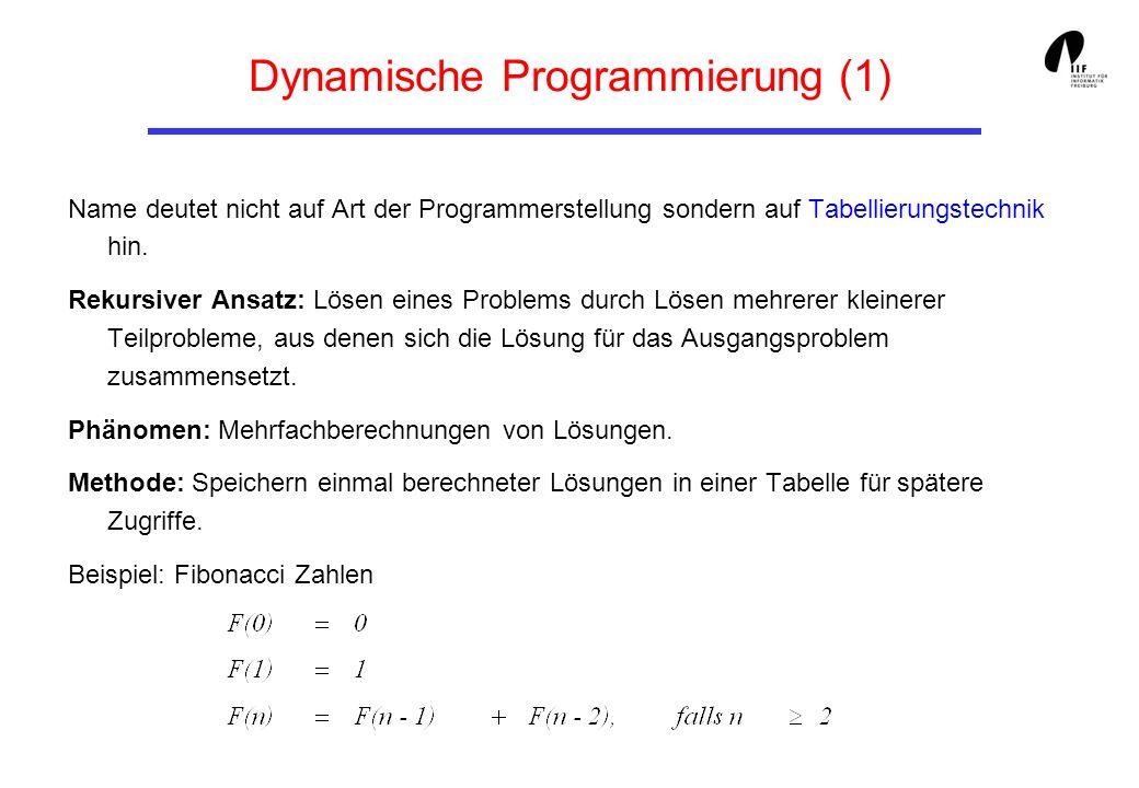 Dynamische Programmierung (1) Name deutet nicht auf Art der Programmerstellung sondern auf Tabellierungstechnik hin. Rekursiver Ansatz: Lösen eines Pr