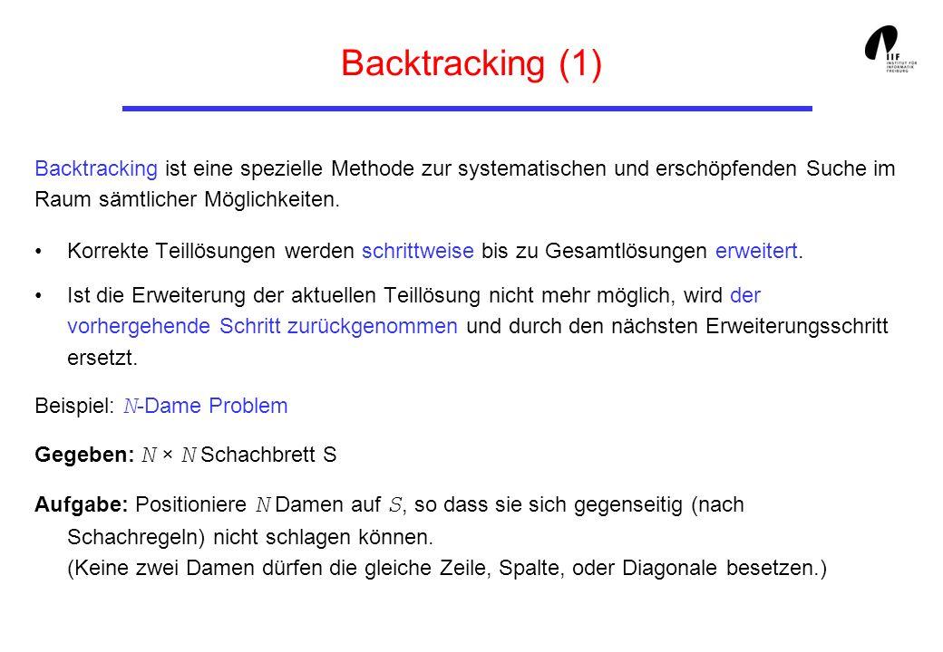 Backtracking (1) Korrekte Teillösungen werden schrittweise bis zu Gesamtlösungen erweitert. Ist die Erweiterung der aktuellen Teillösung nicht mehr mö