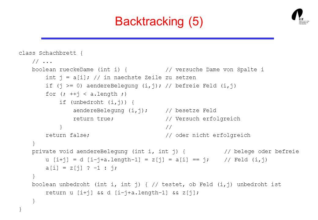Backtracking (5) class Schachbrett { //... boolean rueckeDame (int i) { // versuche Dame von Spalte i int j = a[i]; // in naechste Zeile zu setzen if