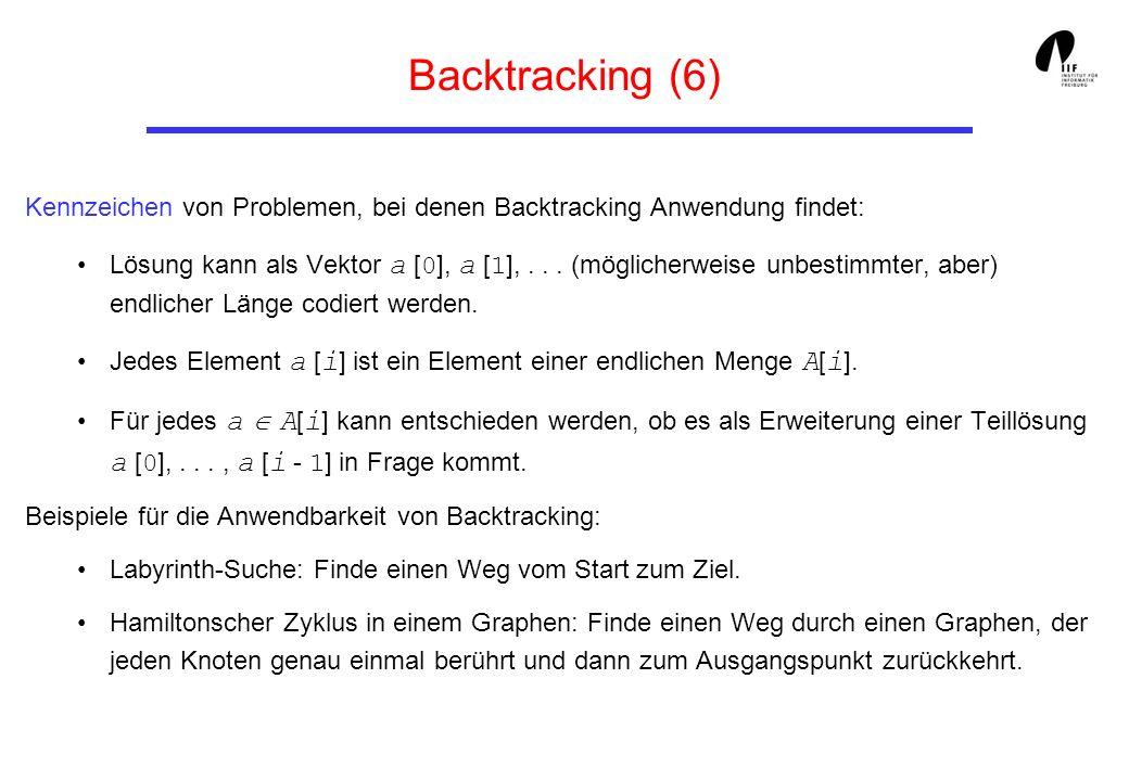 Backtracking (6) Kennzeichen von Problemen, bei denen Backtracking Anwendung findet: Lösung kann als Vektor a [ 0 ], a [ 1 ],... (möglicherweise unbes
