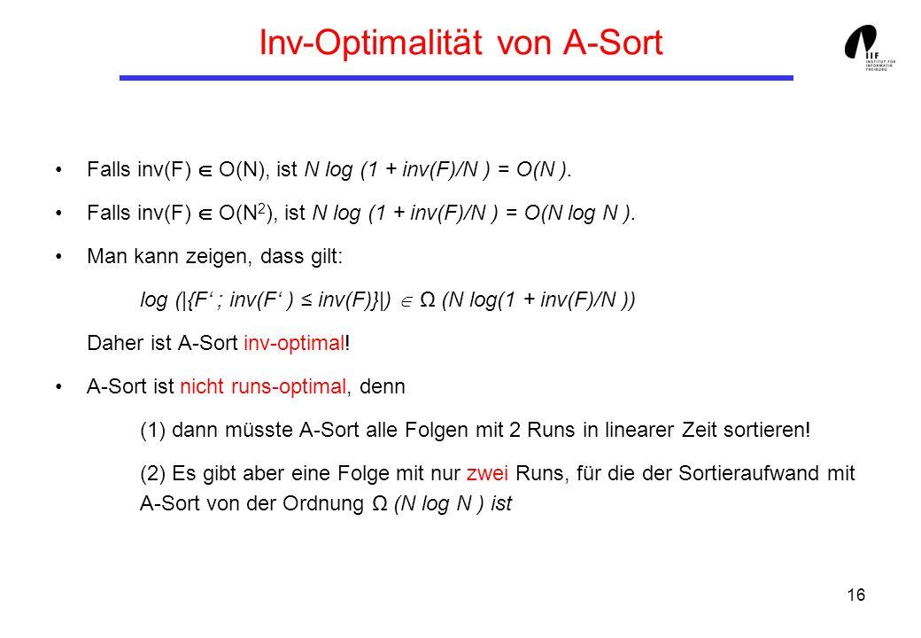 16 Inv-Optimalität von A-Sort Falls inv(F) O(N), ist N log (1 + inv(F)/N ) = O(N ). Falls inv(F) O(N 2 ), ist N log (1 + inv(F)/N ) = O(N log N ). Man