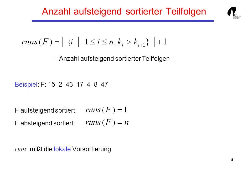 17 Folgen von N Elementen mit 2 Runs Bew (1): Es gibt höchstens O(2 N ) Folgen mit nur 2 Runs: Wähle alle 2 N möglichen Teilmengen von N Elementen, bilde jeweils aus einer Teilmenge den ersten Run und aus den restlichen Elementen den zweiten Run.