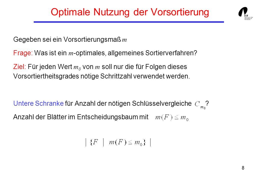 9 Optimale Nutzung der Vorsortierung Definition: Ein Sortierverfahren A heißt m -optimal, falls es eine Konstante c gibt, so dass für alle n und alle Folgen F mit Länge n die Zeit T A (F) zum Sortieren von F mit A wie folgt beschränkt ist: