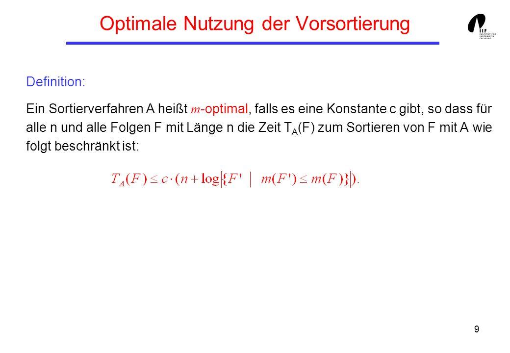 9 Optimale Nutzung der Vorsortierung Definition: Ein Sortierverfahren A heißt m -optimal, falls es eine Konstante c gibt, so dass für alle n und alle