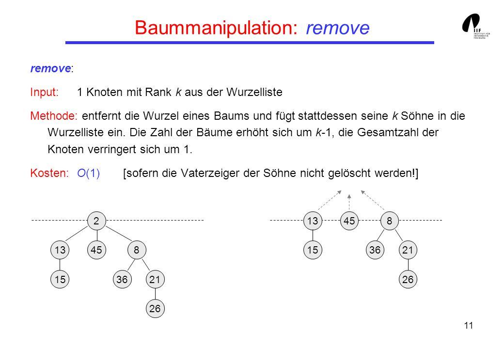 11 Baummanipulation: remove remove: Input:1 Knoten mit Rank k aus der Wurzelliste Methode: entfernt die Wurzel eines Baums und fügt stattdessen seine k Söhne in die Wurzelliste ein.