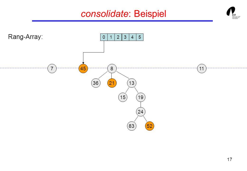 17 consolidate: Beispiel 19 13 458 3621 24 15 8352 117 012345 Rang-Array: