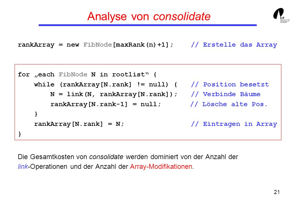 21 Analyse von consolidate rankArray = new FibNode[maxRank(n)+1]; // Erstelle das Array for each FibNode N in rootlist { while (rankArray[N.rank] != null) { // Position besetzt N = link(N, rankArray[N.rank]); // Verbinde Bäume rankArray[N.rank-1] = null; // Lösche alte Pos.