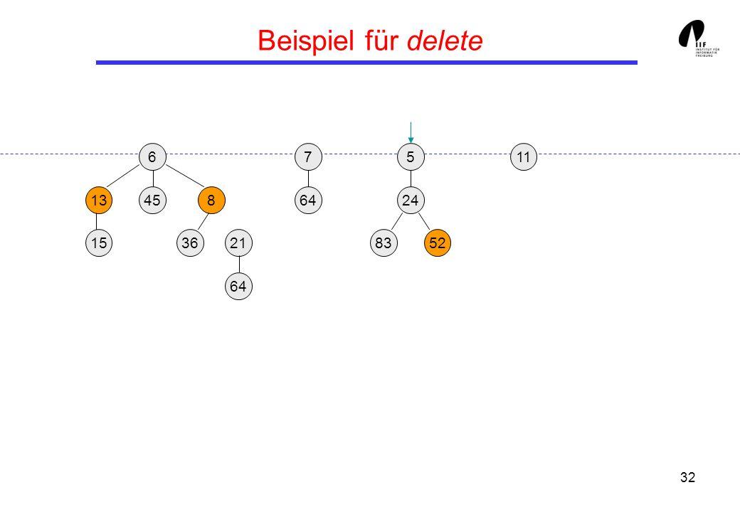 32 Beispiel für delete 65 13458 3621 24 158352 117 64