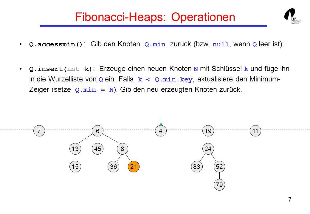 7 Fibonacci-Heaps: Operationen Q.accessmin() : Gib den Knoten Q.min zurück (bzw. null, wenn Q leer ist). Q.insert(int k) : Erzeuge einen neuen Knoten