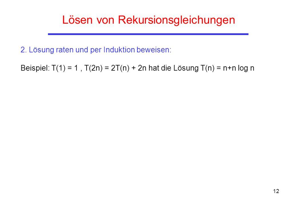 12 Lösen von Rekursionsgleichungen 2.