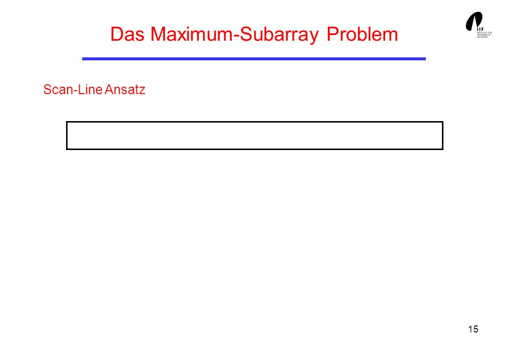 15 Das Maximum-Subarray Problem Scan-Line Ansatz