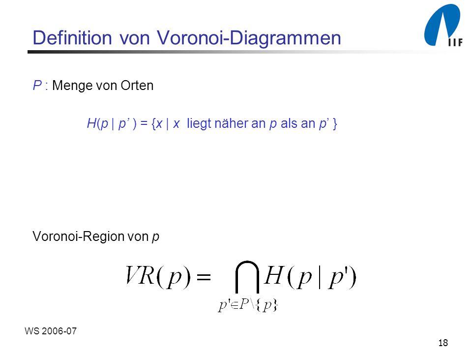 18 WS 2006-07 Definition von Voronoi-Diagrammen P : Menge von Orten H(p | p ) = {x | x liegt näher an p als an p } Voronoi-Region von p