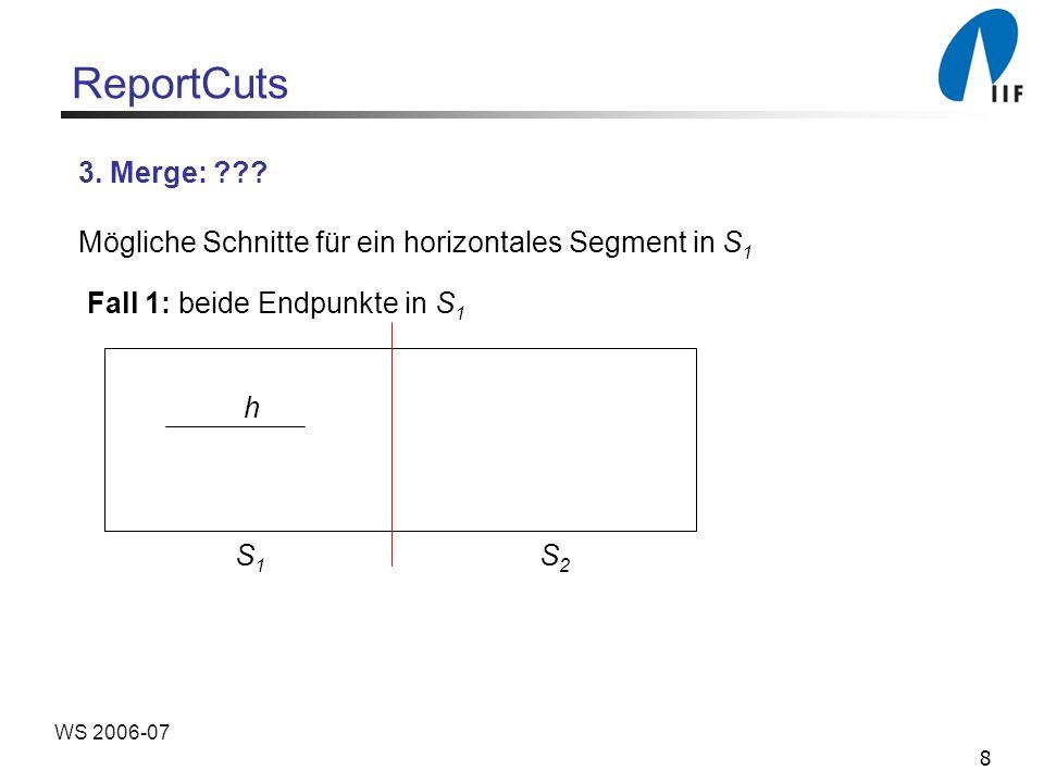19 WS 2006-07 Berechnung des Voronoi-Diagramms Divide : Einteilung der Menge der Orte in zwei Hälften Conquer: Rekursive Berechnung der beiden kleineren Voronoi-Diagramme Abbruchbedingung: Voronoi-Diagramm eines einzelnen Ortes ist die gesamte Ebene Merge: Verbindung der Diagramme durch einen Kantenzug
