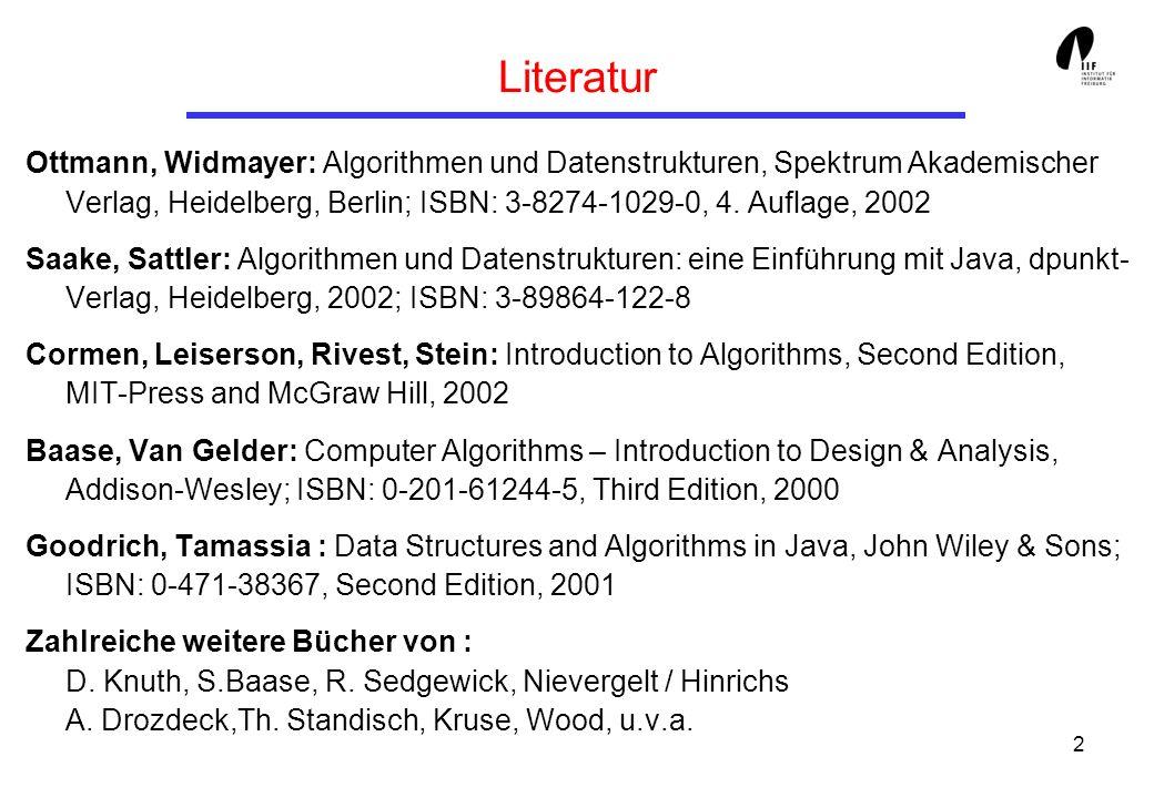3 Inhaltsübersicht 1.Einleitung, Grundlagen 2.Algorithmenentwurfstechniken 3.Elementare Datenstrukturen 4.Sortieren, Suchen, Auswahl 5.Wörterbücher, Bäume und Hash-Verfahren 6.Graphenalgorithmen