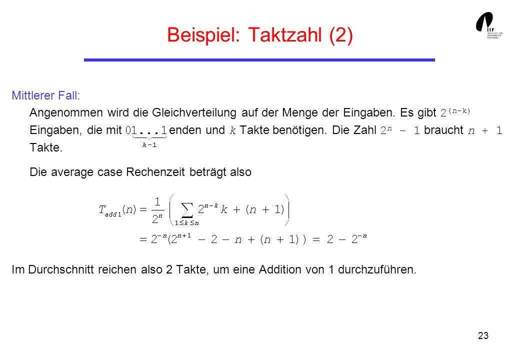 23 Beispiel: Taktzahl (2) Mittlerer Fall: Angenommen wird die Gleichverteilung auf der Menge der Eingaben. Es gibt 2 (n-k) Eingaben, die mit enden und