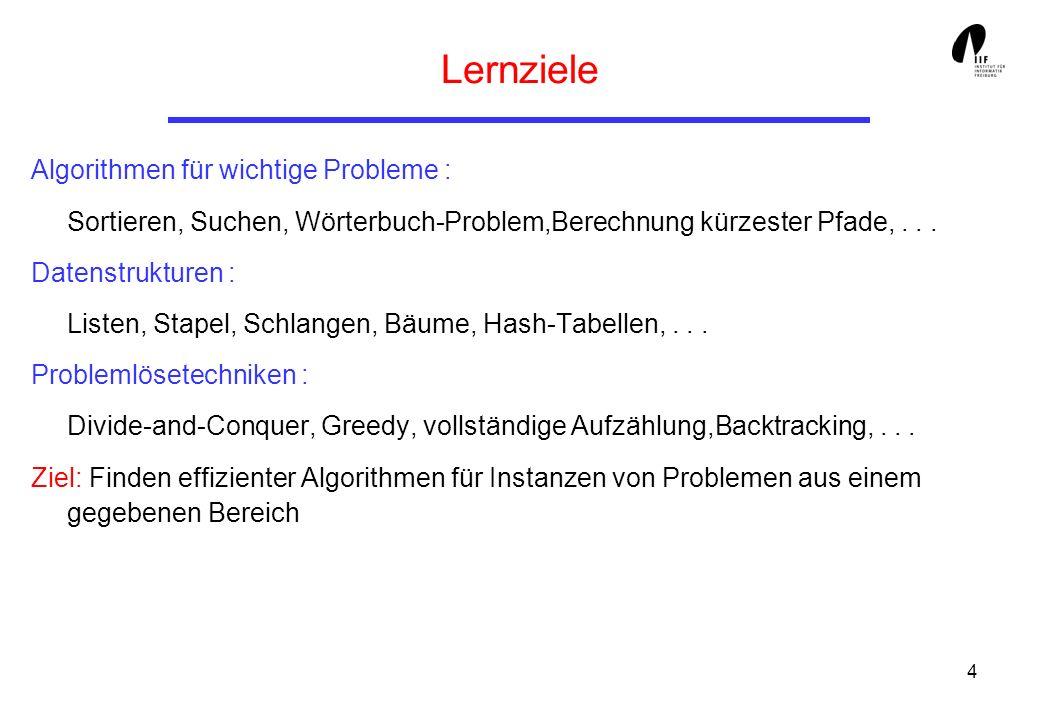 4 Lernziele Algorithmen für wichtige Probleme : Sortieren, Suchen, Wörterbuch-Problem,Berechnung kürzester Pfade,... Datenstrukturen : Listen, Stapel,