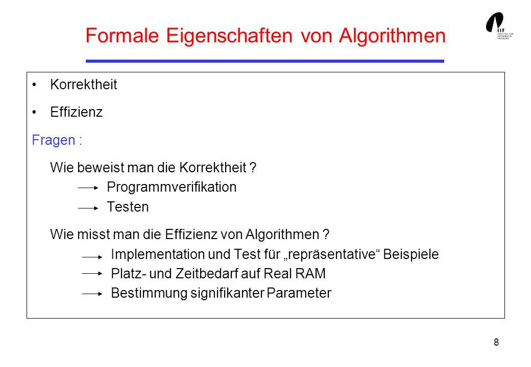 9 Korrektheit partielle : Wenn der Algorithmus hält, dann liefert er das gewünschte Resultat totale : Algorithmus hält und liefert das gewünschte Ergebnis Vorbedingung (Eingabe-Bedingung) : Spezifiziert den Zustand vor Ausführung eines Algorithmus Nachbedingung (Ausgabe-Bedingung) : Spezifiziert den Zustand nach Ausführung des Algorithmus {P} A {Q} Beispiel : { .