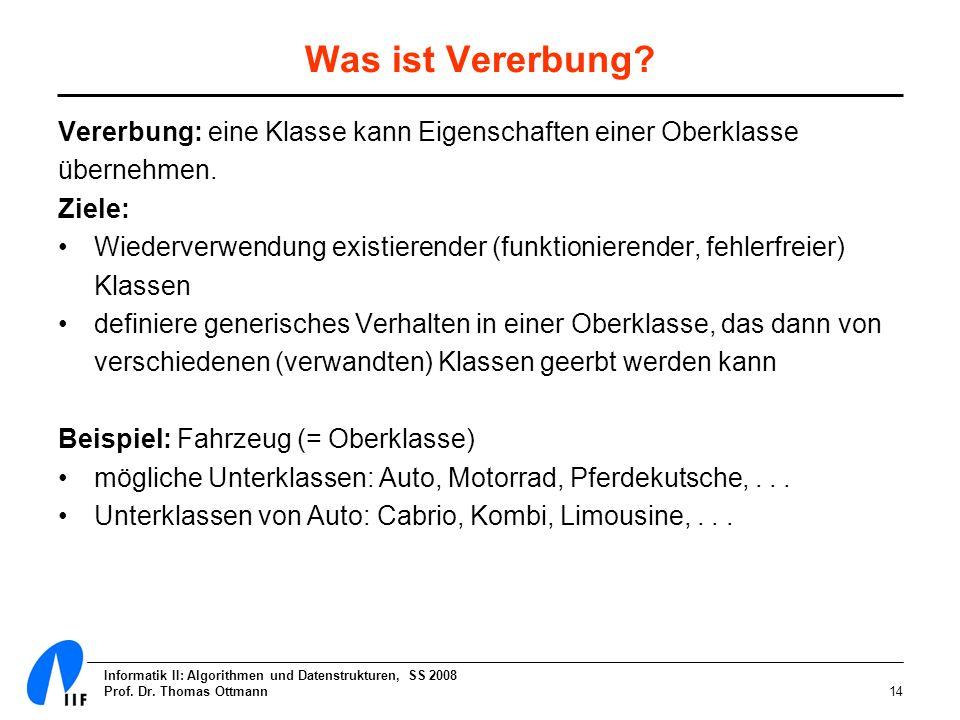Informatik II: Algorithmen und Datenstrukturen, SS 2008 Prof. Dr. Thomas Ottmann14 Was ist Vererbung? Vererbung: eine Klasse kann Eigenschaften einer
