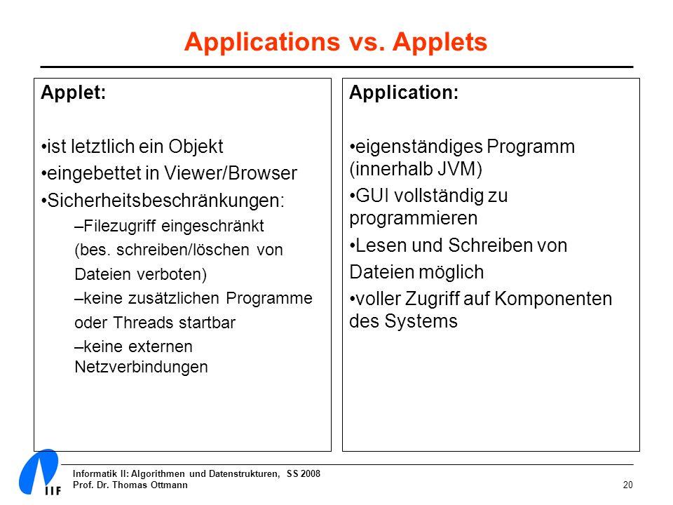 Informatik II: Algorithmen und Datenstrukturen, SS 2008 Prof. Dr. Thomas Ottmann20 Applications vs. Applets Applet: ist letztlich ein Objekt eingebett