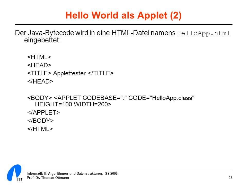 Informatik II: Algorithmen und Datenstrukturen, SS 2008 Prof. Dr. Thomas Ottmann23 Hello World als Applet (2) Der Java-Bytecode wird in eine HTML-Date