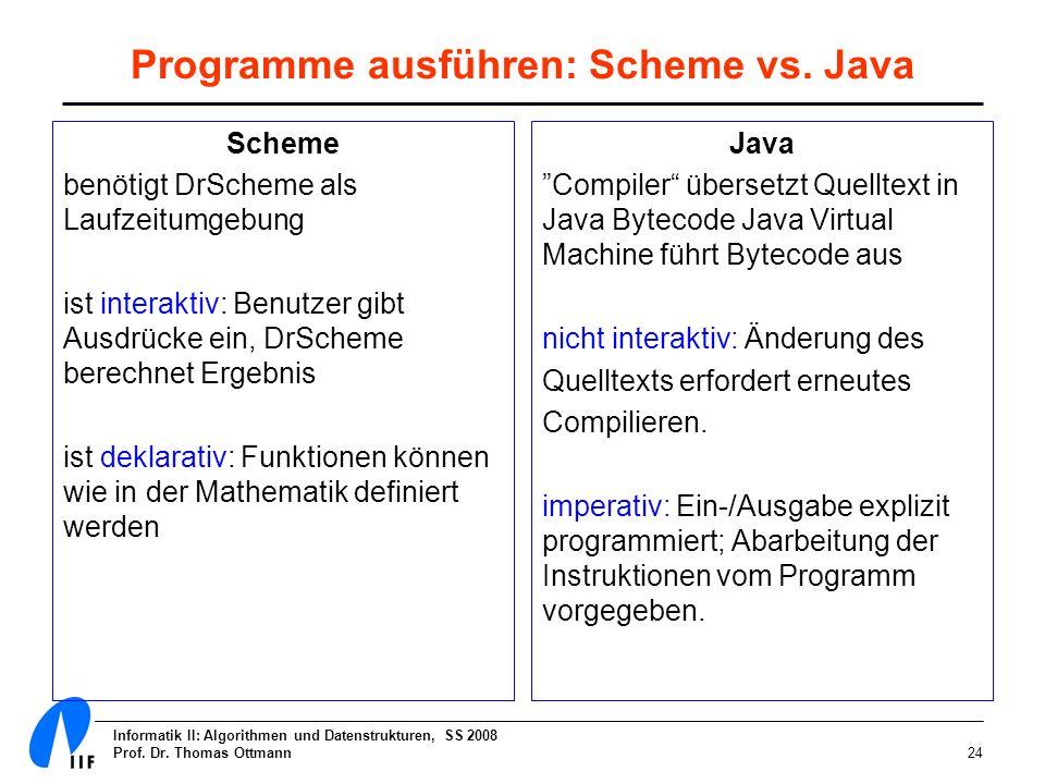 Informatik II: Algorithmen und Datenstrukturen, SS 2008 Prof. Dr. Thomas Ottmann24 Programme ausführen: Scheme vs. Java Scheme benötigt DrScheme als L