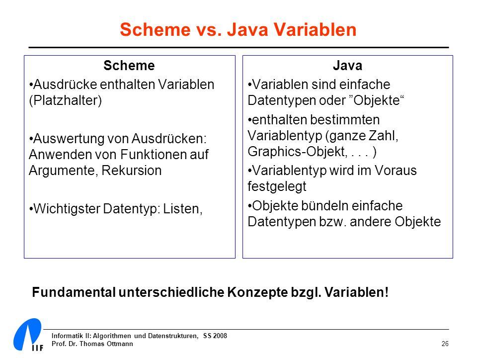 Informatik II: Algorithmen und Datenstrukturen, SS 2008 Prof. Dr. Thomas Ottmann26 Scheme vs. Java Variablen Scheme Ausdrücke enthalten Variablen (Pla