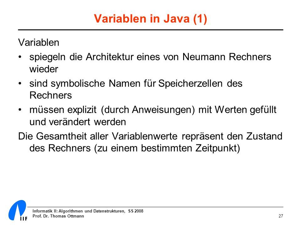 Informatik II: Algorithmen und Datenstrukturen, SS 2008 Prof. Dr. Thomas Ottmann27 Variablen in Java (1) Variablen spiegeln die Architektur eines von