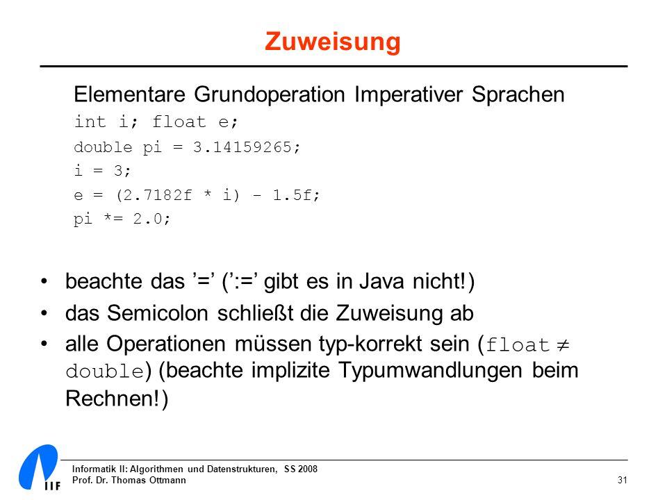 Informatik II: Algorithmen und Datenstrukturen, SS 2008 Prof. Dr. Thomas Ottmann31 Zuweisung Elementare Grundoperation Imperativer Sprachen int i; flo