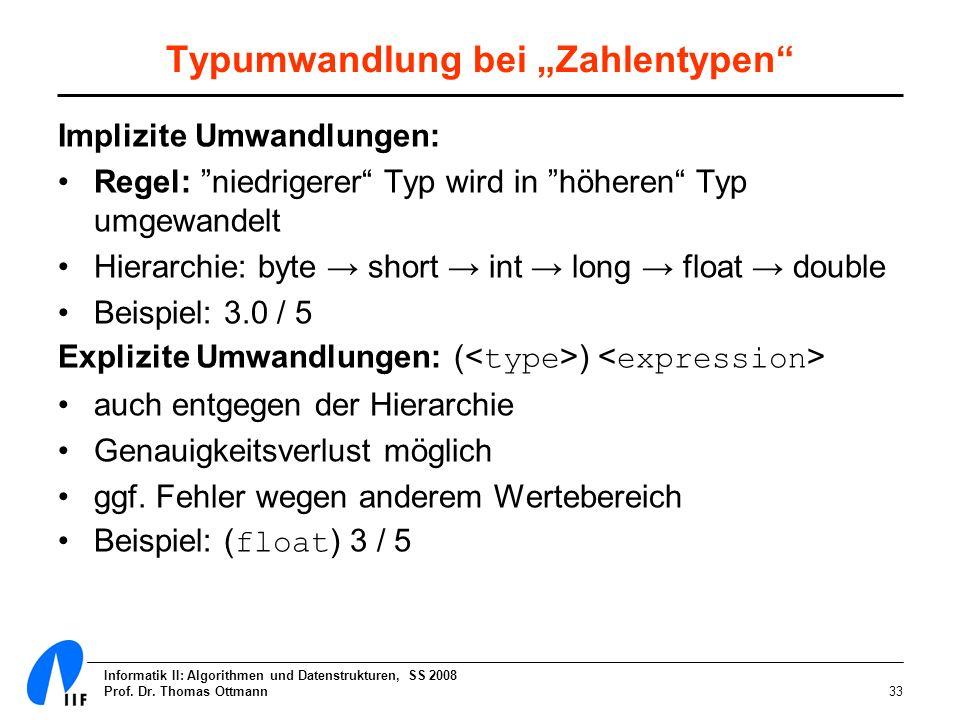 Informatik II: Algorithmen und Datenstrukturen, SS 2008 Prof. Dr. Thomas Ottmann33 Typumwandlung bei Zahlentypen Implizite Umwandlungen: Regel: niedri