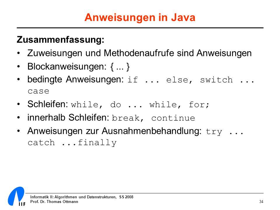 Informatik II: Algorithmen und Datenstrukturen, SS 2008 Prof. Dr. Thomas Ottmann34 Anweisungen in Java Zusammenfassung: Zuweisungen und Methodenaufruf