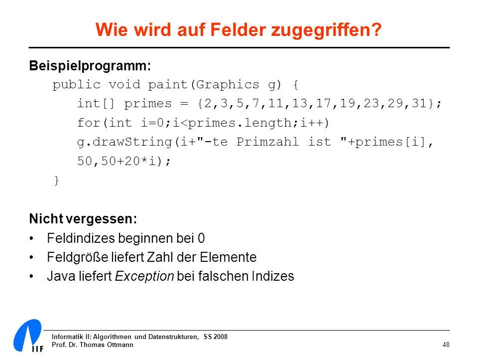 Informatik II: Algorithmen und Datenstrukturen, SS 2008 Prof. Dr. Thomas Ottmann48 Wie wird auf Felder zugegriffen? Beispielprogramm: public void pain